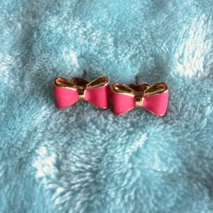 Hot Pink and Gold Bow Stud Earrings